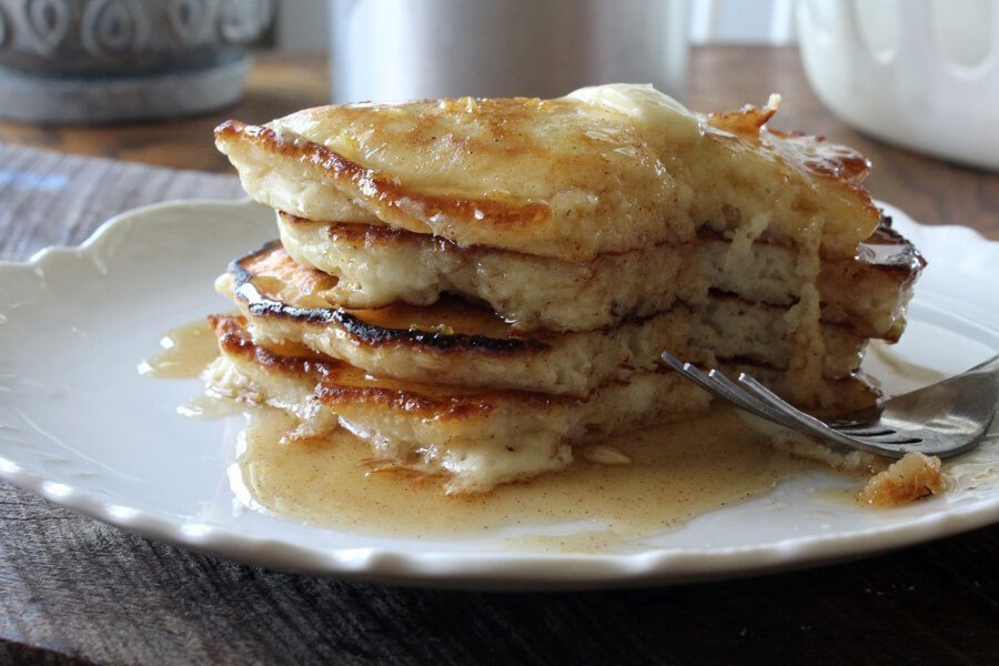 The Best Pancake Recipe with Honey Cinnamon Syrup