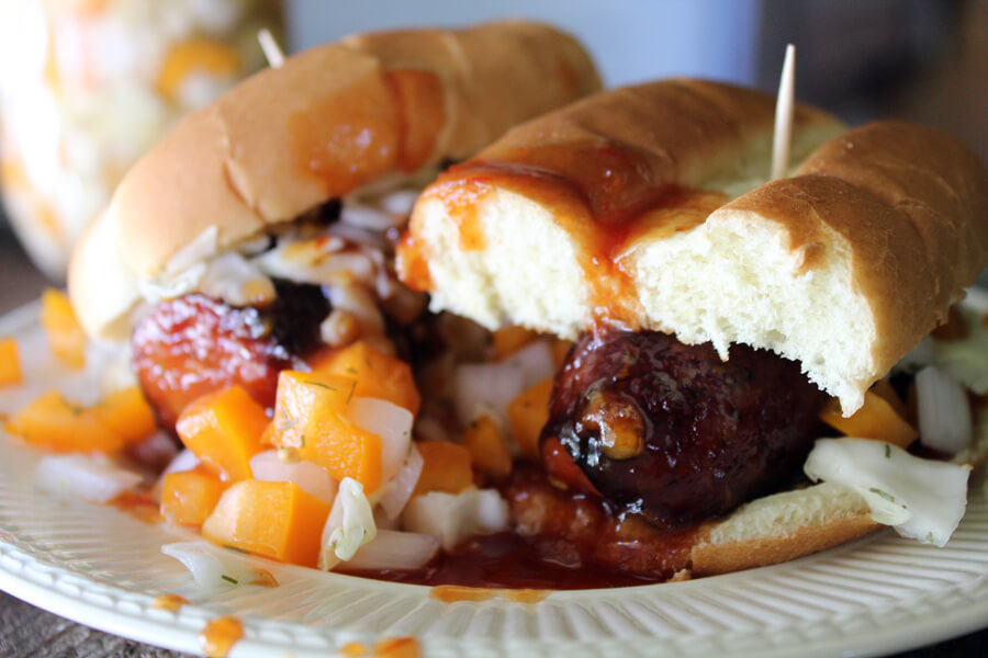 Big Orange Smokeys with Checkerboard Relish - a Tennessee Volunteers Tailgate recipe
