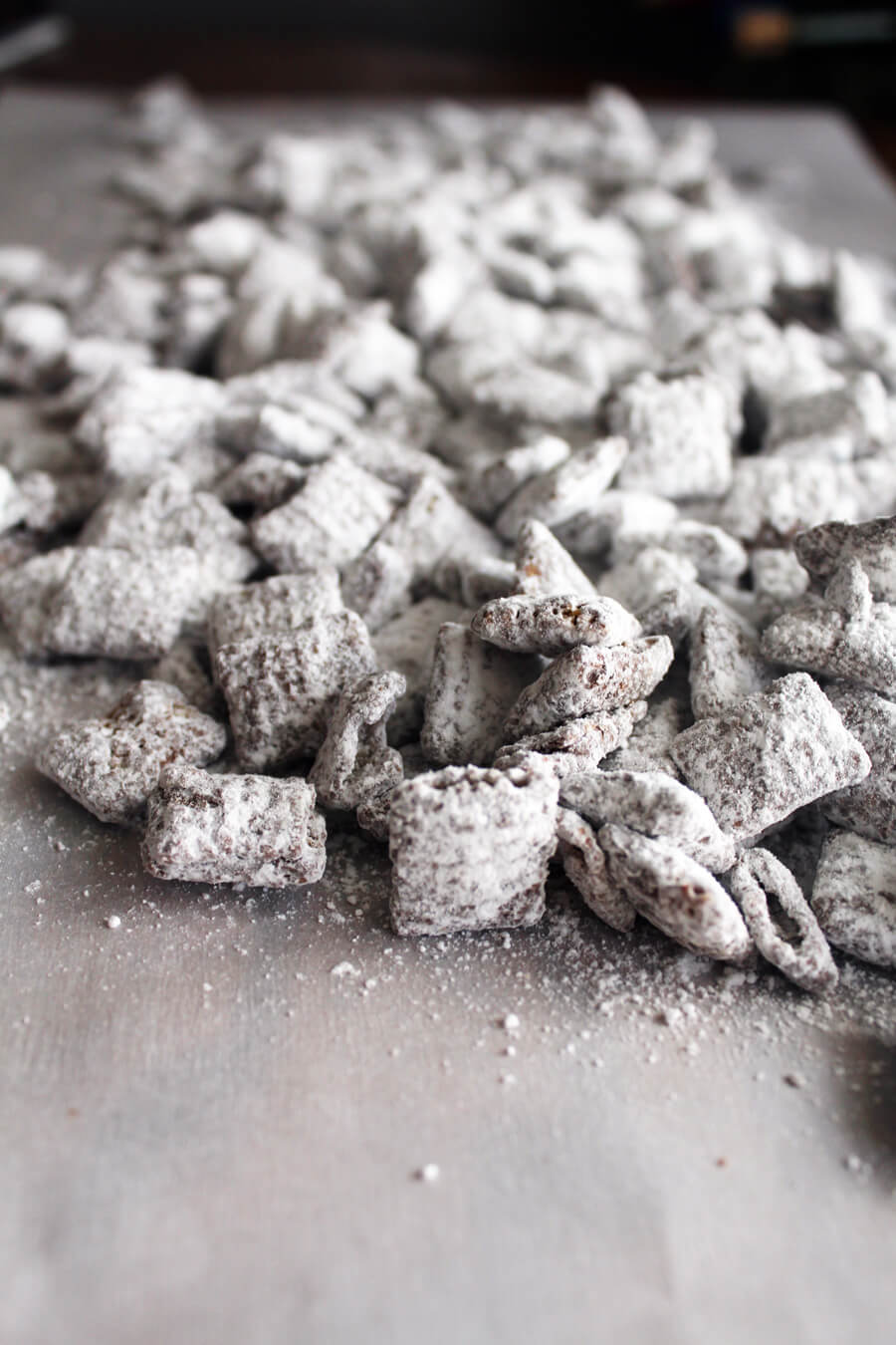 cereal coated with powdered sugar for snack mix