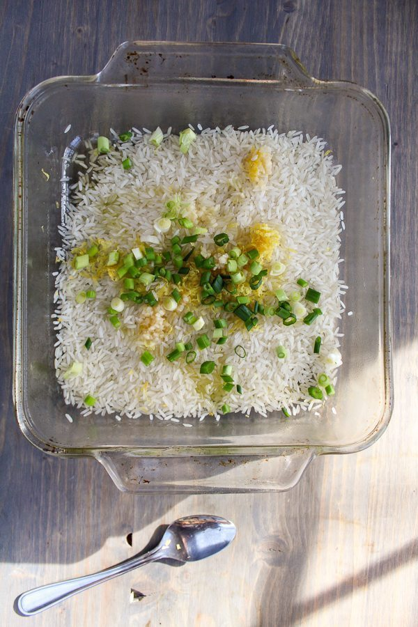 If you love fluffy, tender rice with no fuss, you have to try our Baked Lemon Rice. Made with fragrant jasmine rice, lemon zest and garlic. Easy side dish!