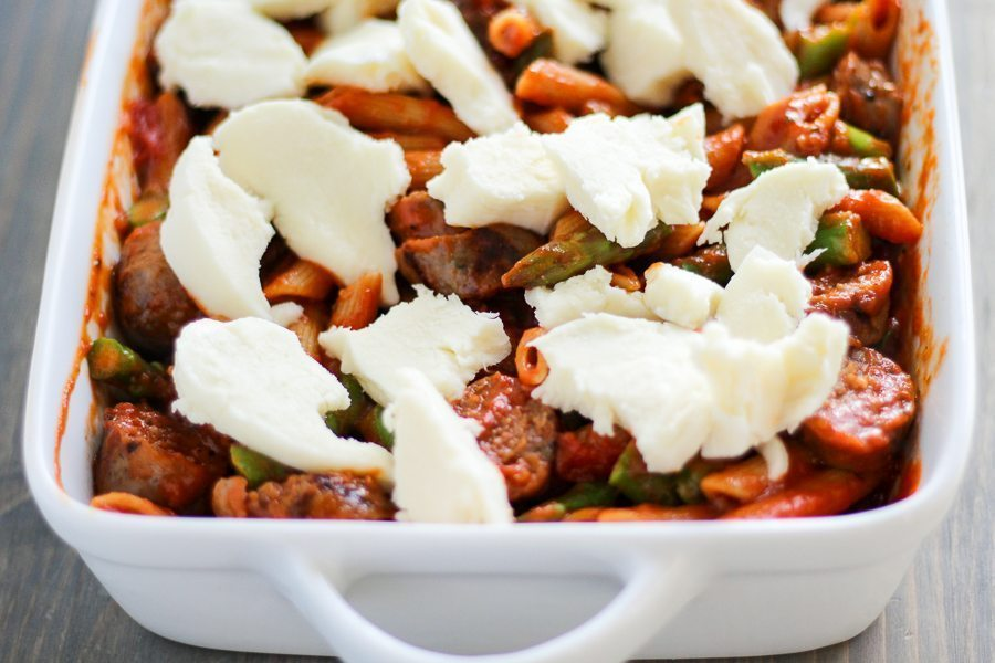 There are five ingredients in this delicious Sausage Asparagus Pasta Bake. Fresh asparagus with Italian sausage, tossed in sauce and topped with cheese.YUM!