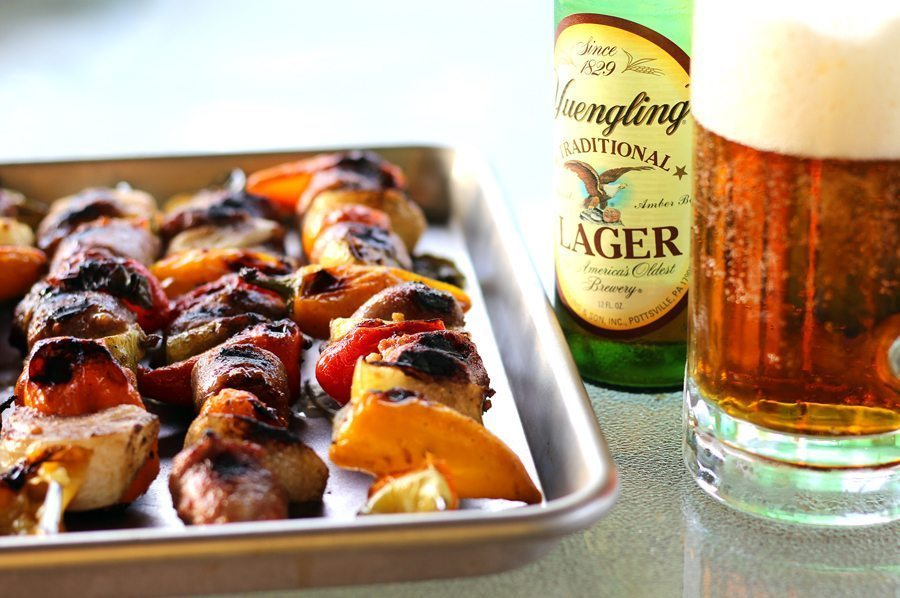 Grilled Skewered Beer Brats with Hot Mustard Glaze