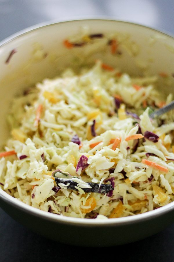 Tangy fresh slaw in a bowl