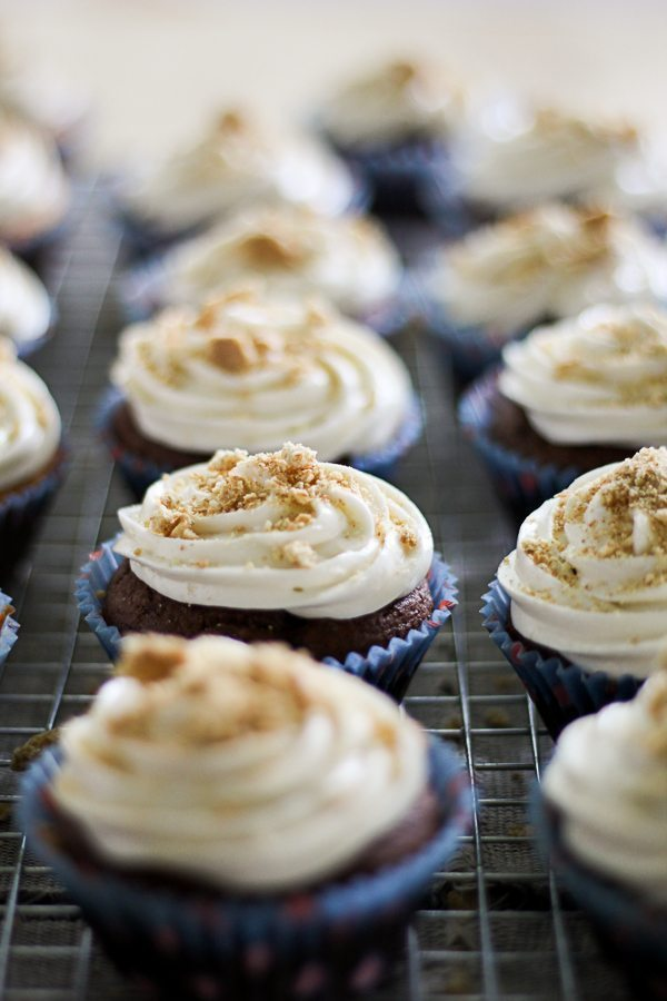 Delicious smores cupcakes with graham cracker crumbles