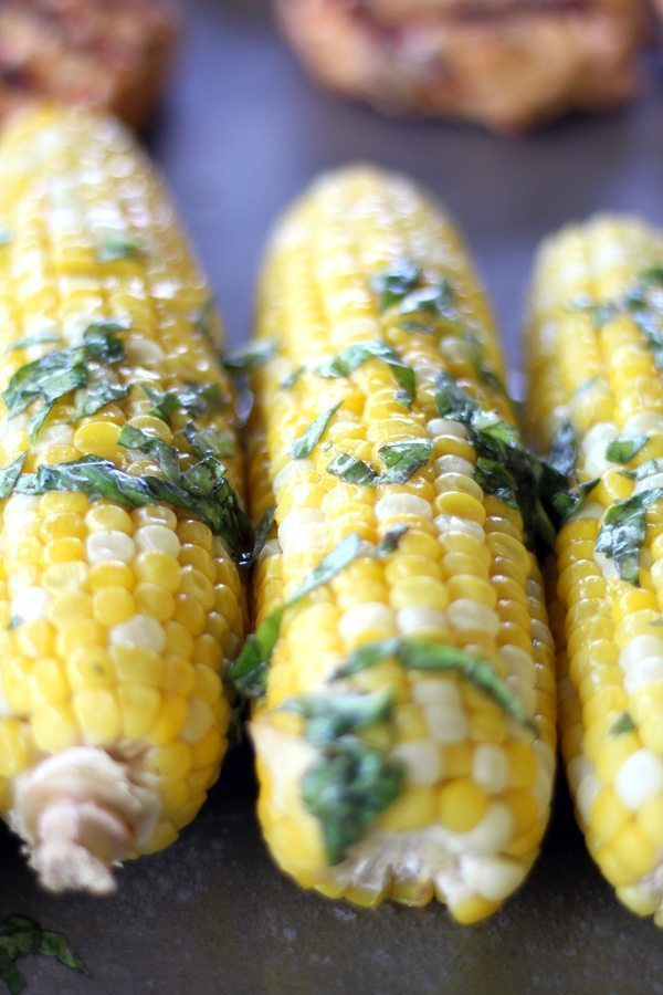 Grilled buttered corn on a pan