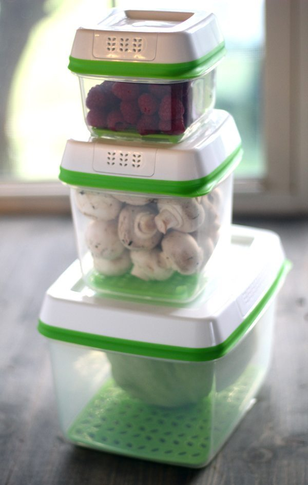 Vegetables and fruits stored in Fresh Works plastic storage containers