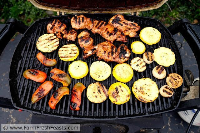 Weeknight Dinner Recipes Grilled Korean Chicken Thighs with Squash and Peppers by Farm Fresh Feasts