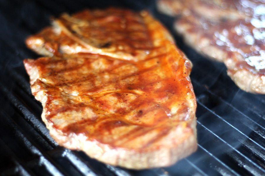 Look at the perfect grill marks on these honey bourbon pork steaks...