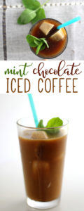This Mint Chocolate Iced Coffee is lightly flavored with fresh mint, cold brewed for a smooth flavor, and served over chocolate-cream ice cubes.