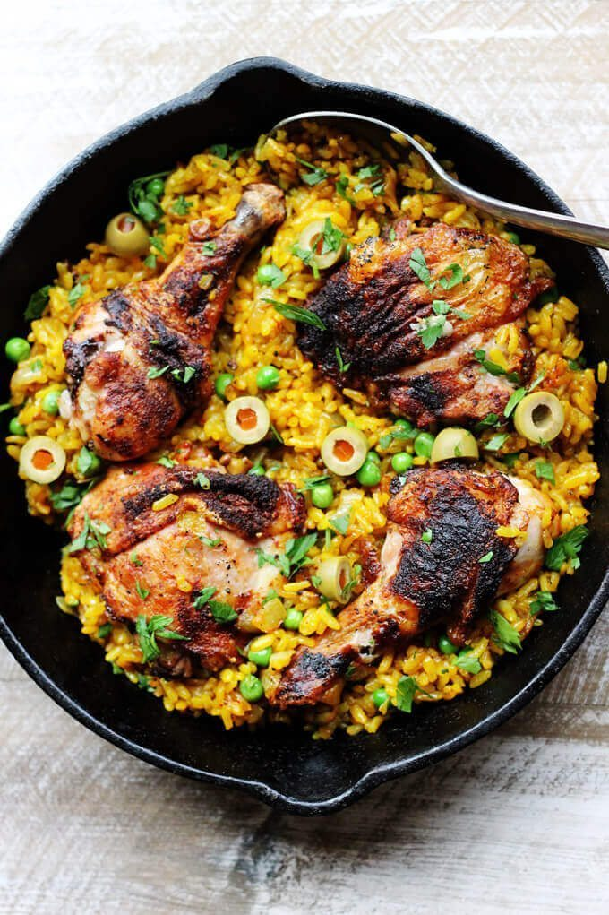 Weeknight Recipe Ideas One Pot Chicken and Saffron Rice with Peas and Olives by Innocent Delight