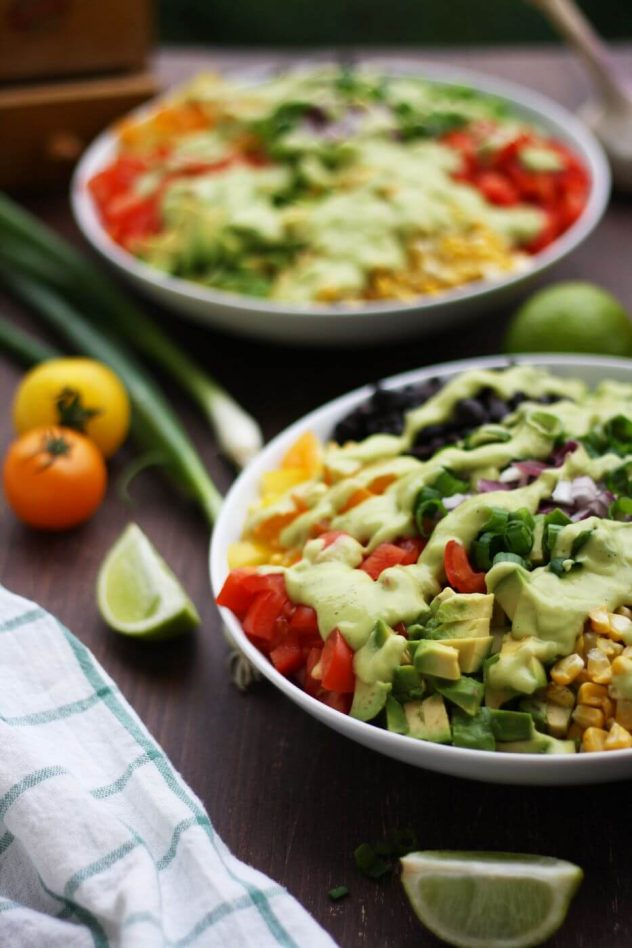 Weeknight Dinner Recipes Vegan Mexican Chopped Salad with Avocado Dressing by Happy Kitchen Rocks