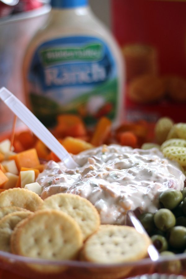 A bowl of creamy cheddar ranch dip surrounded by crackers, vegetables and other snacks
