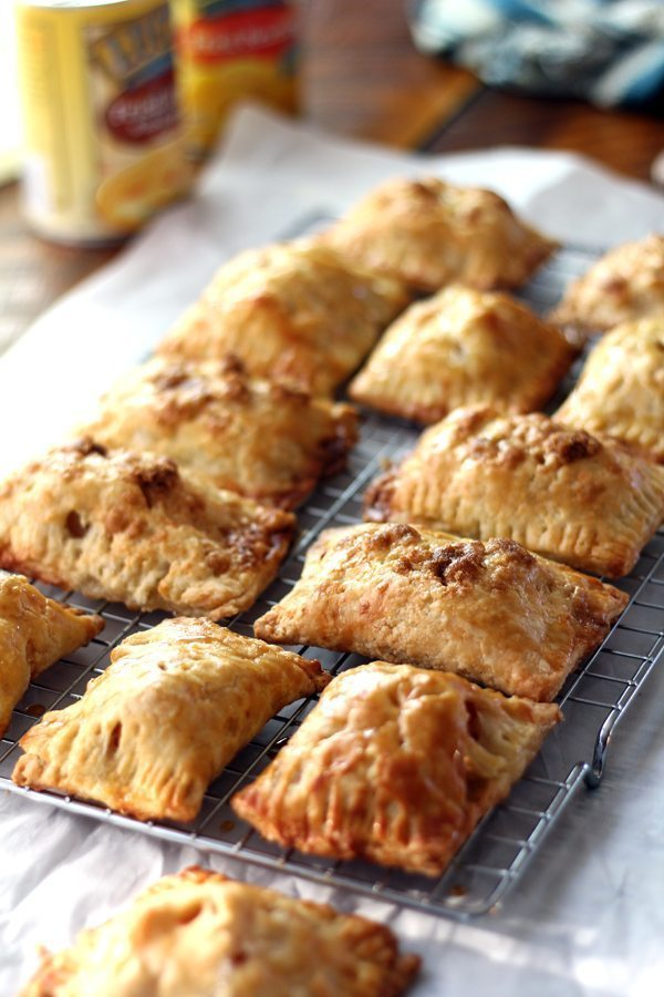 apple hand pies cooling on a wire rack