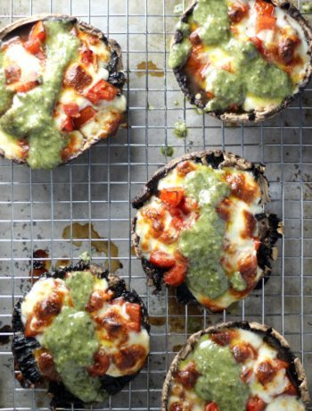 Marinated Tomato + Pesto Portabello Mushrooms
