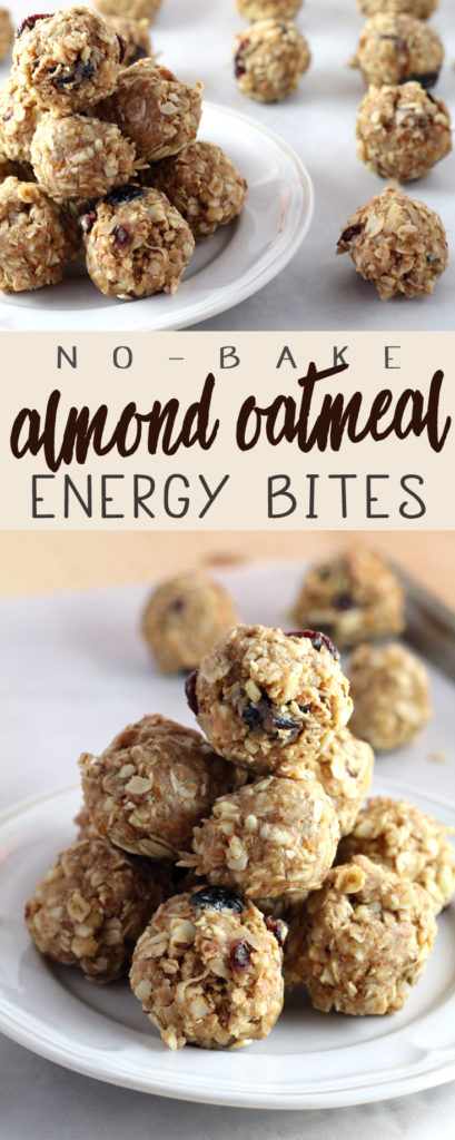 Almond Oatmeal No Bake Energy Bites