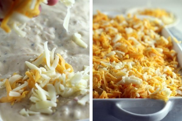 Loads of cheese on our Cheesy Verde Chicken Enchiladas.