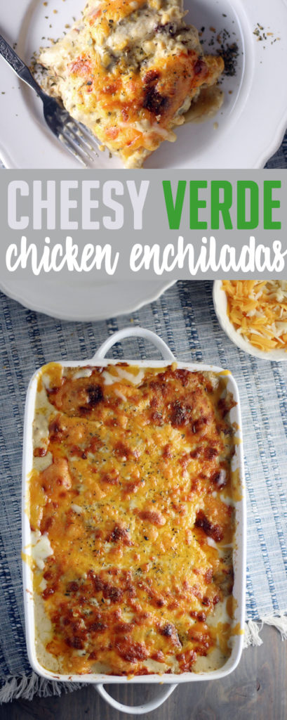 Cheesy Verde Chicken Enchiladas are a crave worthy Mexican inspired recipe your family will love. Featuring a homemade salsa verde + chipotle sauce, these chicken enchiladas rock. #chickenenchiladas #chickenrecipe #Mexicanrecipe #cheesycasserole #PowerOfDots