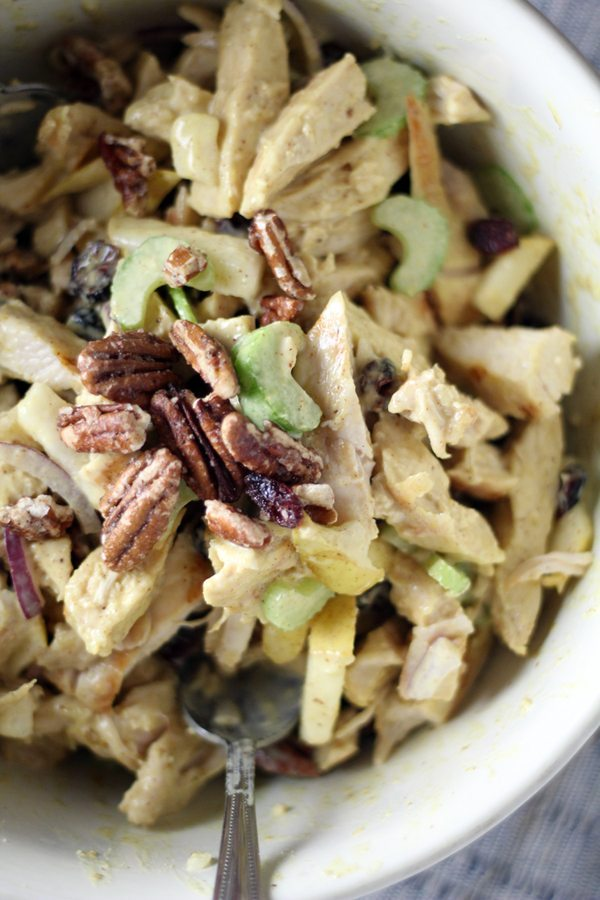 Pecan and chicken salad tossed with fresh pears, celery and homemade honey mutard