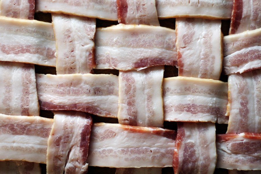 This is how you weave bacon for this pork tenderloin recipe.