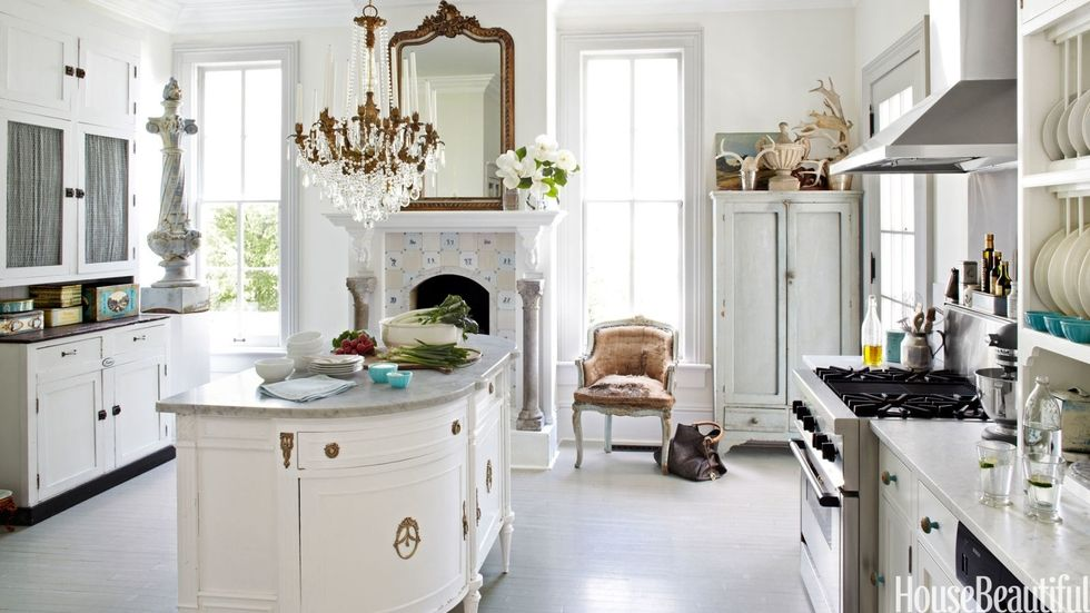 Victorian kitchen islands. Inspiration from House Beautiful.