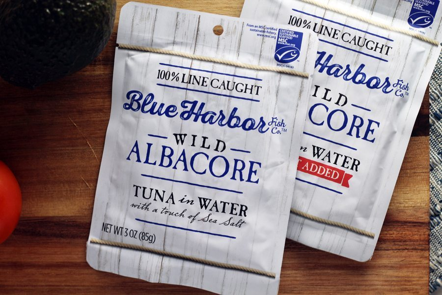 Packages of wild albacore tuna in water