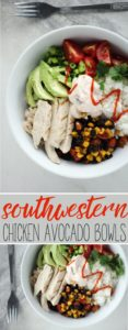 Southwestern Chicken Avocado Bowls are a fast and easy meal idea for lunch, dinner + meal prep.