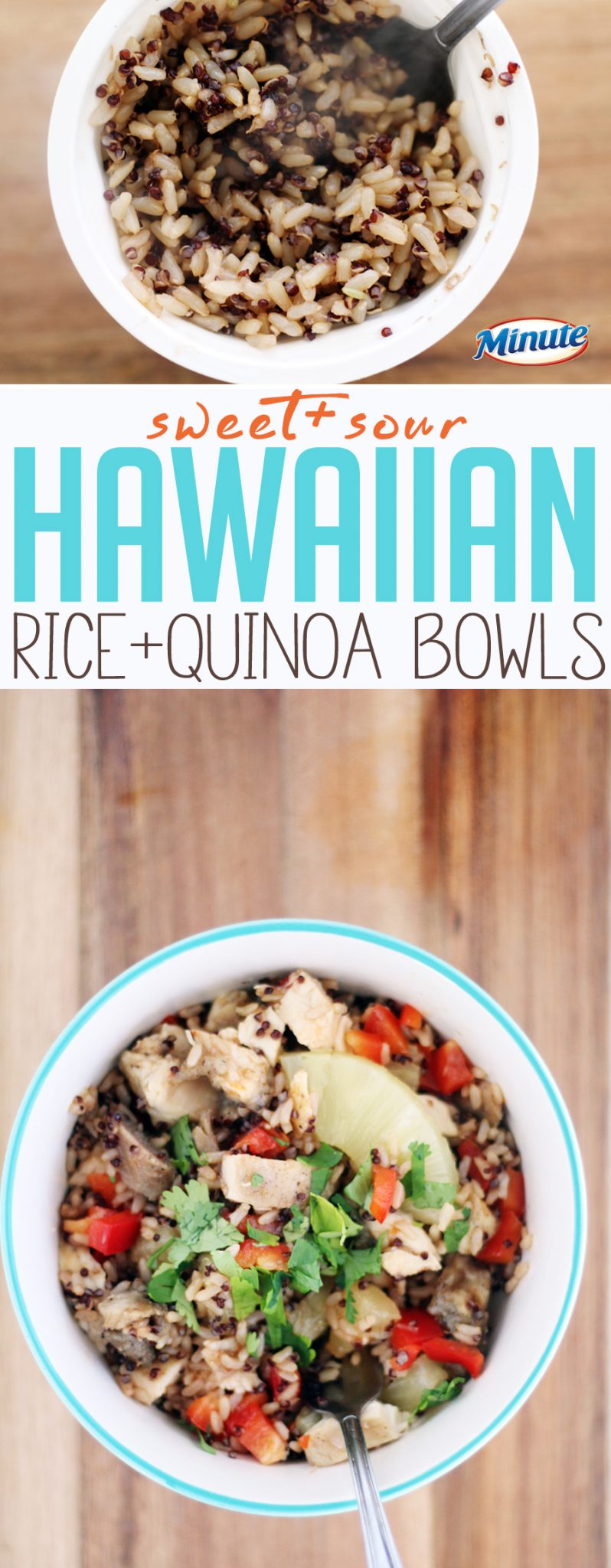 This fast recipe for rice + quinoa bowls is easy and full of sweet + sour flavor.