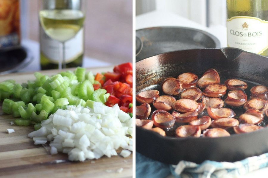 A collage picture, on the left a cutting board with chopped onions, celery and bell pepper. On the right a cast iron skillet with browned sausages