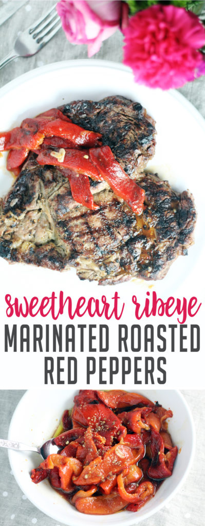 Make someone's day special with this recipe for roasted red peppers on top of a grilled ribeye.