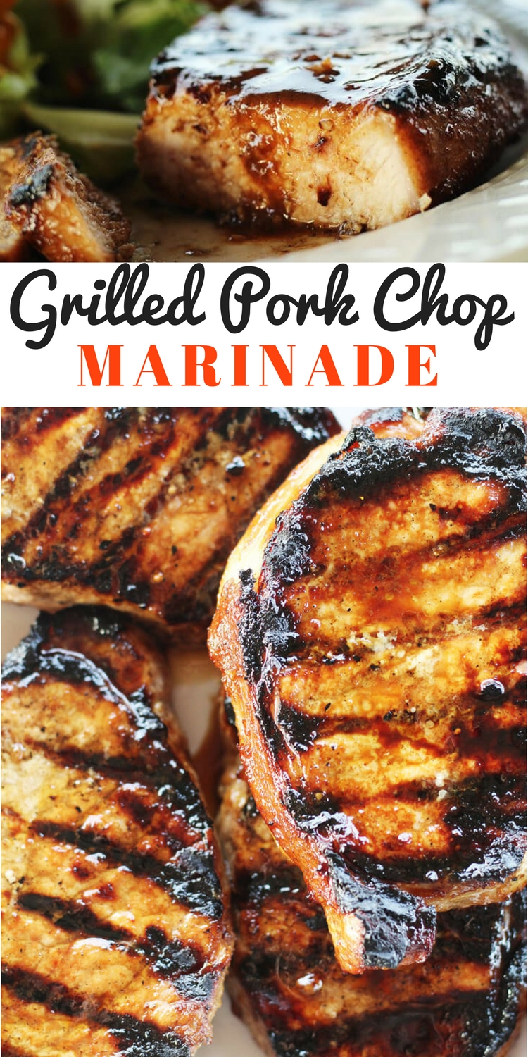 You are going to love our easy recipe for this Grilled Pork Chop Marinade. This marinade flavors every single bite of juicy, grilled pork. A little smoky, a little sweet, and a lot delicious, this is an all-around great marinade you will want to use again and again. #porkchopmarinade #marinaderecipe