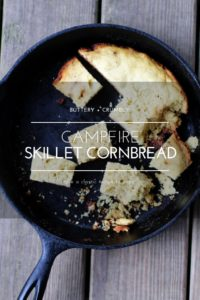 Is it just me or does all food taste better when prepared and enjoyed in the great outdoors? Our easy recipe for Campfire Skillet Cornbread is no exception. Made from just a few ingredients, this scratch-made skillet cornbread is cooked in a cast iron skillet over campfire coals.