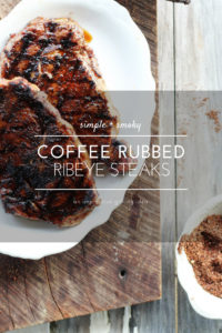 A simple but bold + flavorful recipe for Coffee Rubbed Steak. Coffee blended with savory and smoky spices, rubbed on grass fed beef, then grilled to perfection.