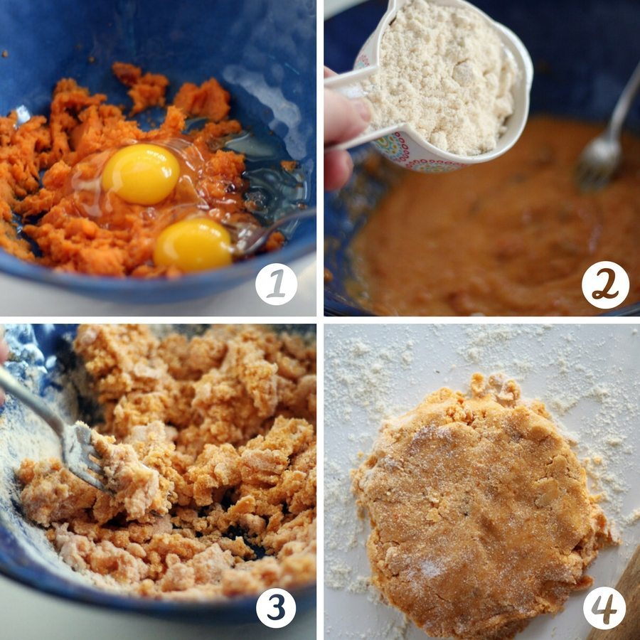 A four picture collage illustrating how to make homemade dog treats