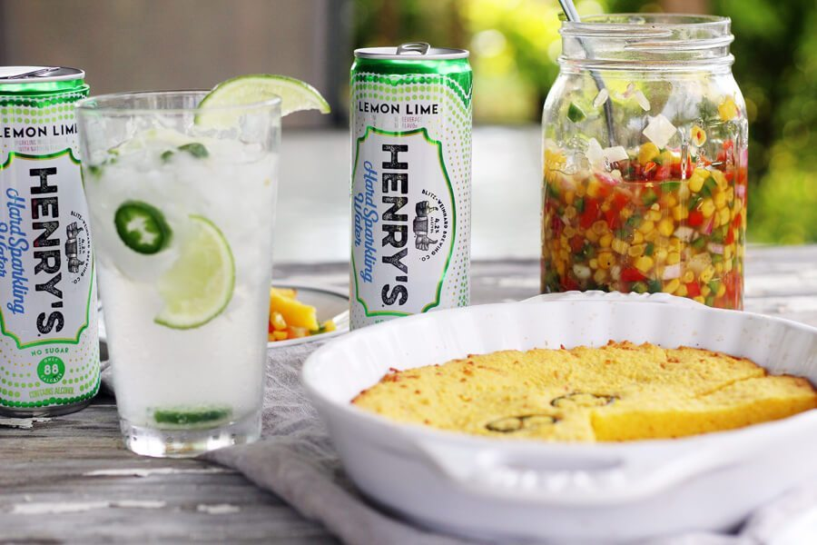 Sweet Hot Jalapeno Corn Relish with Henry's Hard Sparkling Jalapeno Lemon Limeade Cocktails