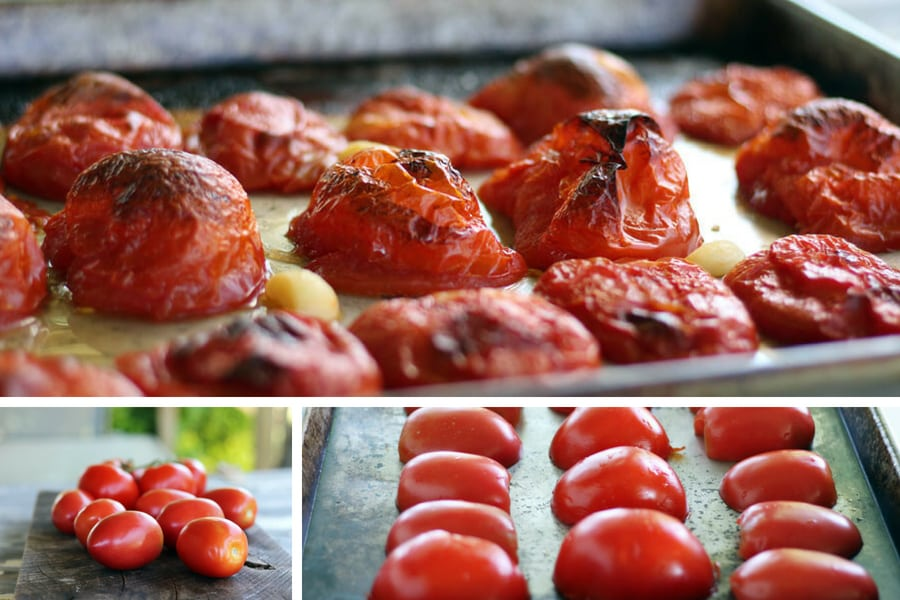 roasted red tomatoes on a baking pan