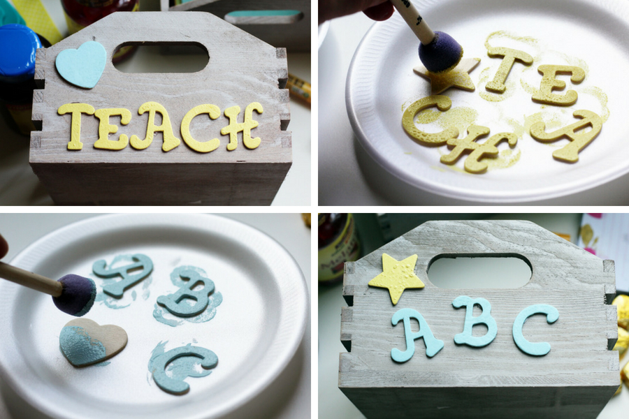 a step by step collage showing how to assemble the gift basket, with painted wooden letters glued onto a wooden crate