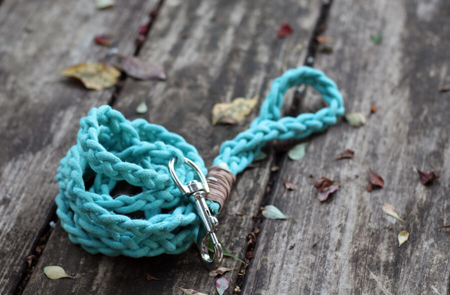 A finished picture of the Braided Rope Dog Leash