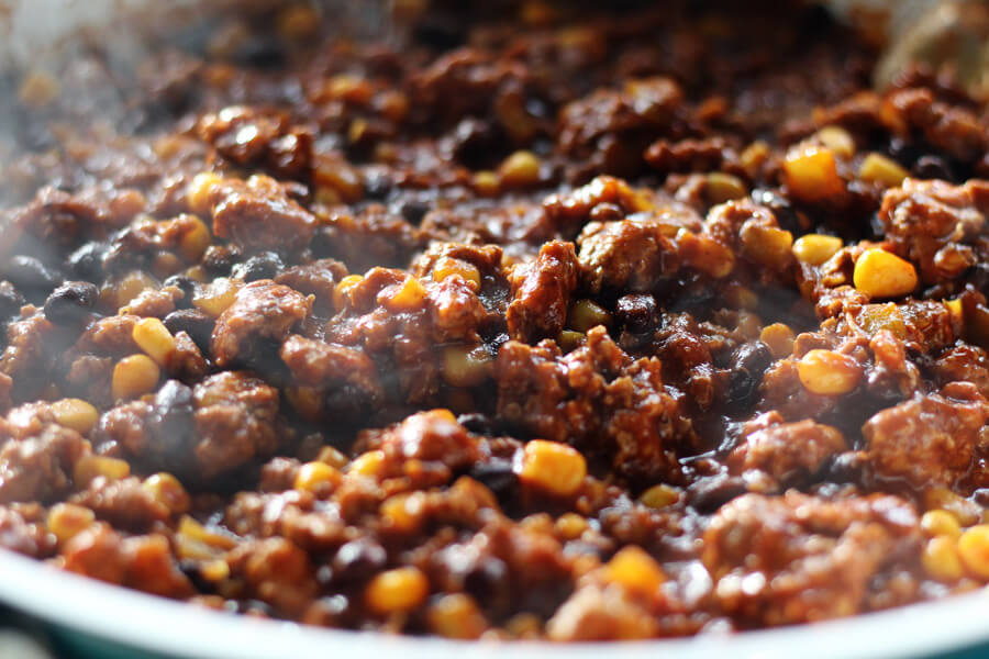 Savory beef filling with black beans and corn