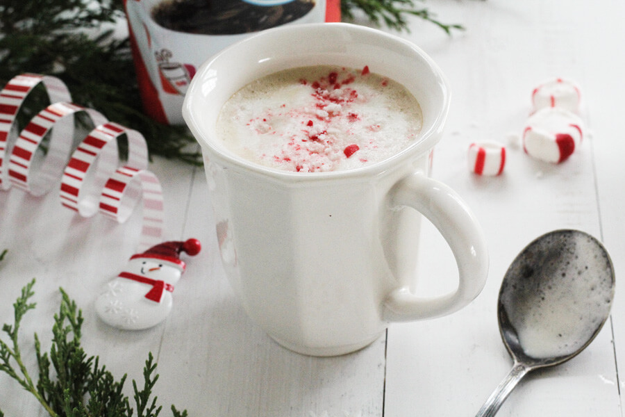 French Vanilla Cappuccino sprinkled with peppermint