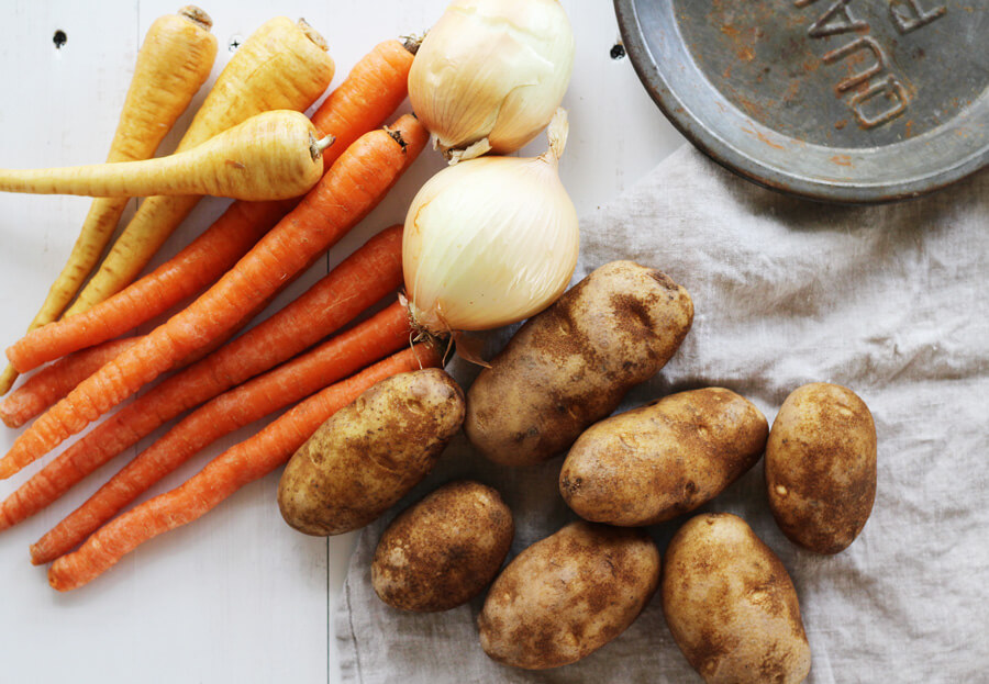 Traditional stew vegetables: parsnips, carrots, onions, and potatoes