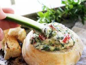 Three Cheese Spinach Artichoke Dip + Homemade Bread Bowls