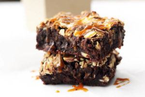 Vanilla Swirl Dark Chocolate Brownies with Salted Caramel Drizzle