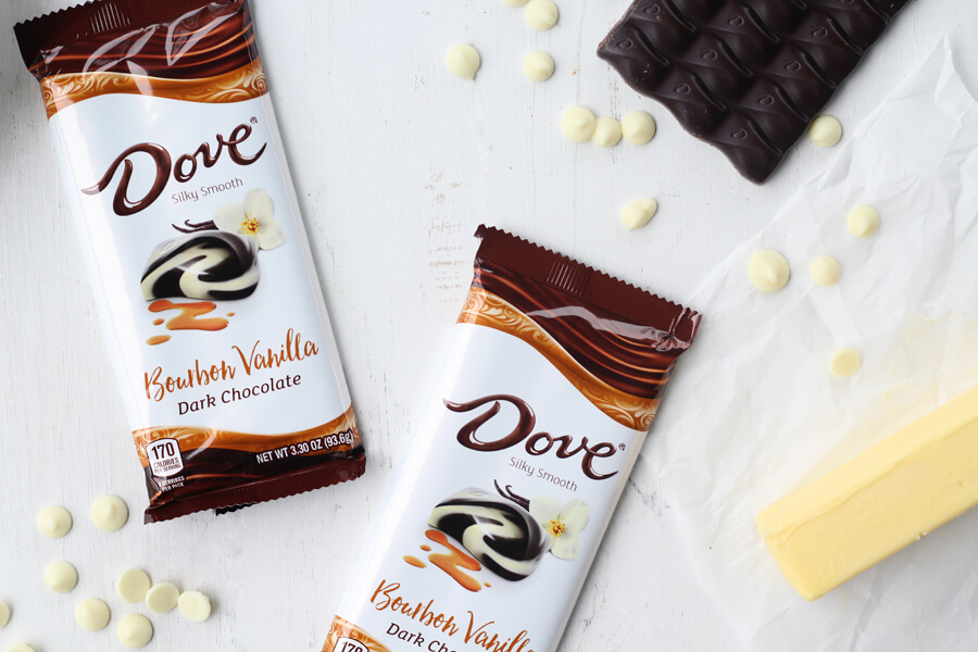 Vanilla Swirl Dark Chocolate Brownies inspired by DOVE Chocolate Bars