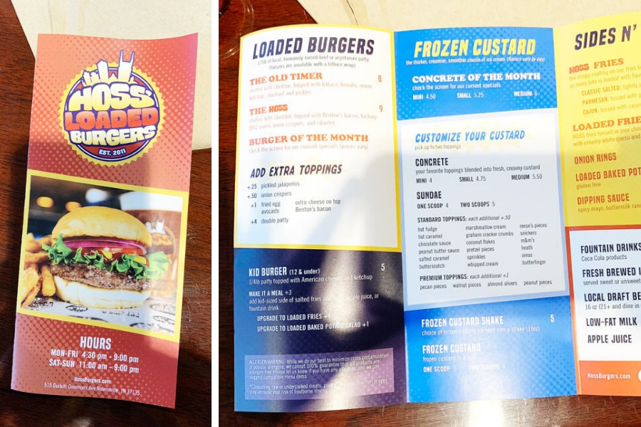 Check out the menu at Hoss Loaded Burgers