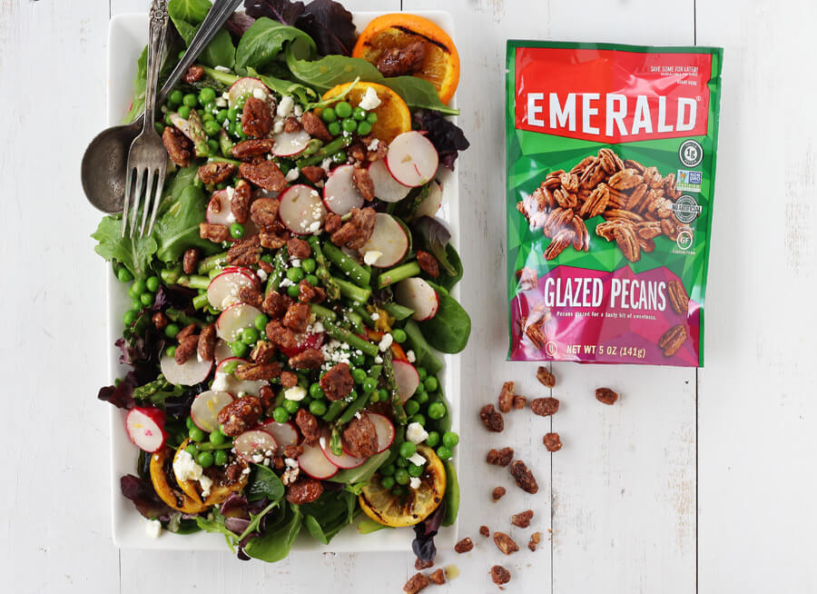 Emerald Glazed Pecans are the perfect sweet + crunchy topping for our Grilled Citrus Spring Salad.