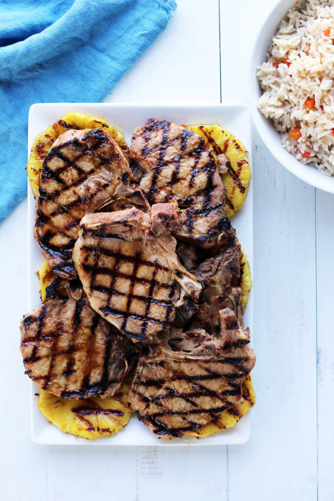 Hawaiian Pineapple Grilled Pork Chops | Buy This Cook ThatEasy and delicious, this recipe for grilled pork chops features a fast + fresh marinade and grilled pineapples.#grilledporkchops #porkchops