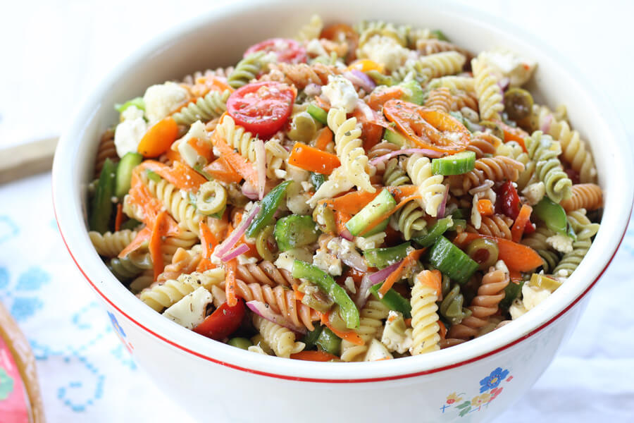 Zesty Italian Pasta Salad | Buy This Cook ThatBite after bite of fresh vegetables, tender pasta, and zesty Italian flavors make this side dish a favorite.#Italianpastasalad #pastasalad