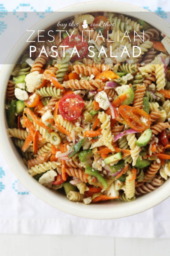 Bursting with flavor + fresh veggies, this recipe for Italian Pasta Salad is a perfect side dish. Every bite is zesty + delicious.100% Family approved!
