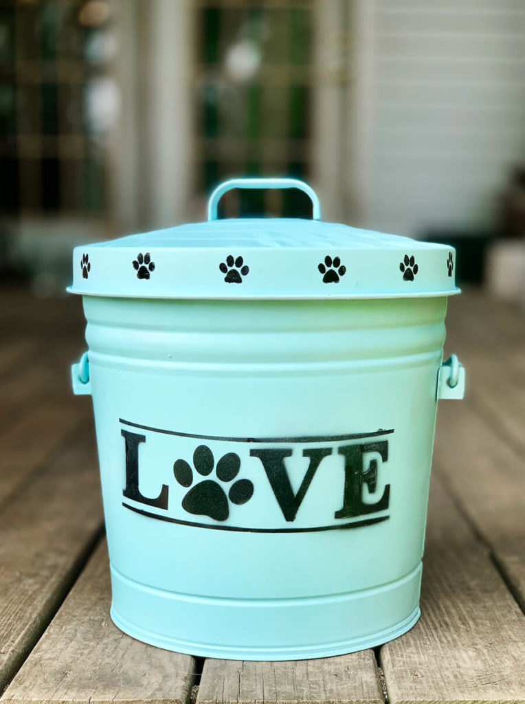 DIY Stenciled Dog Food Container | Buy This Cook That