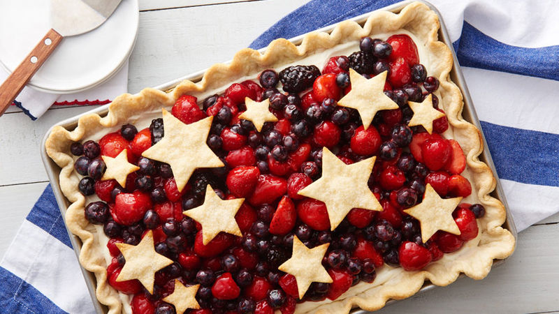 Star Spangled Red White and Blue Slab Pie